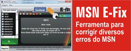 códigos erro MSN