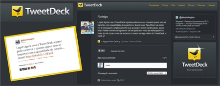 Enviar tuites mais 140 caracteres TweetDeck