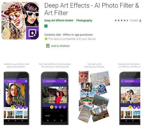 Deep Efeitos Caricatura em Fotos